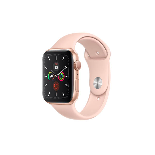 APPLE WATCH SERIES 5 GPS + CELLULAR, 40MM GOLD ALUMINIUM CASE WITH PINK SAND SPORT BAND - S/M & M/L (MWX22AE/A)
