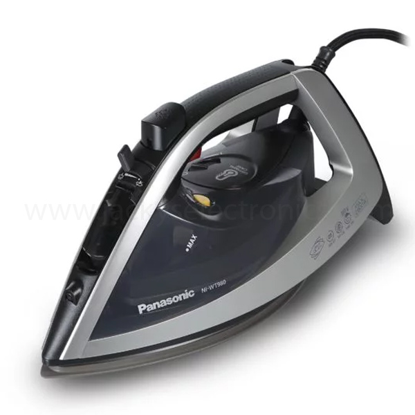 Panasonic Optimal Care Iron with New Steam Circulation System, 2800-2400W, Anti-Drip, Anti-Calc, Self-Cleaning , Vertical Steam, Spray, Water Capacity 350 ml, Advanced Ceramic Coating (NIJWT980)