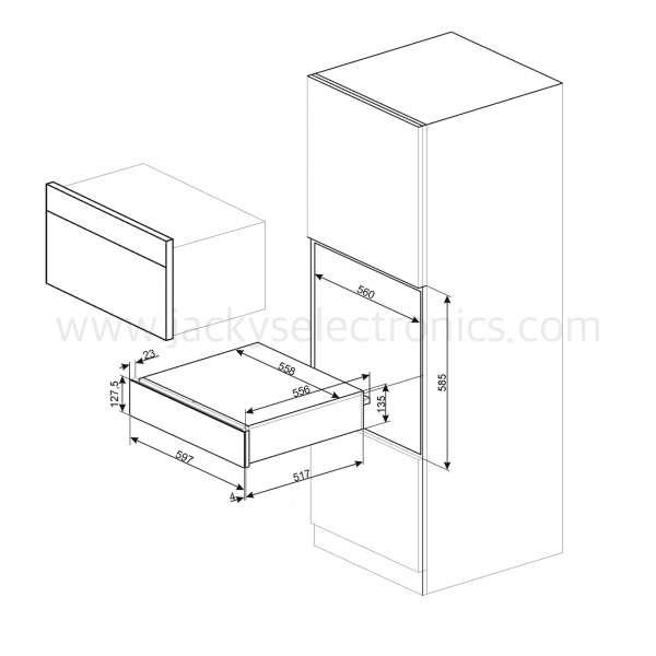 Smeg Warming Drawer, 15cm Height, Cortina, Cream (CPR715P)