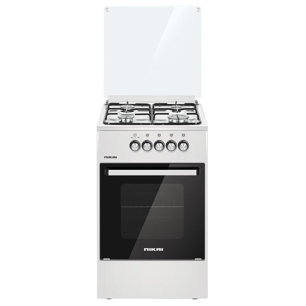 Nikai Gas Oven With 4 Burners Free Standing Stainless Steel Glass Top Cover (U2110N5)