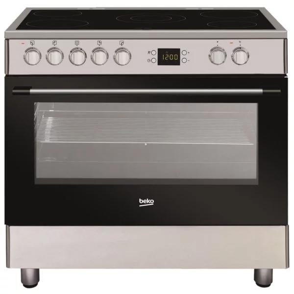Beko 90cm Cooking range, 5 Ceramic Zones & Oven Electric, Digital Timmer, Multifunctional Cooking, Oven capacity – 111 Liter (GM17300GX)