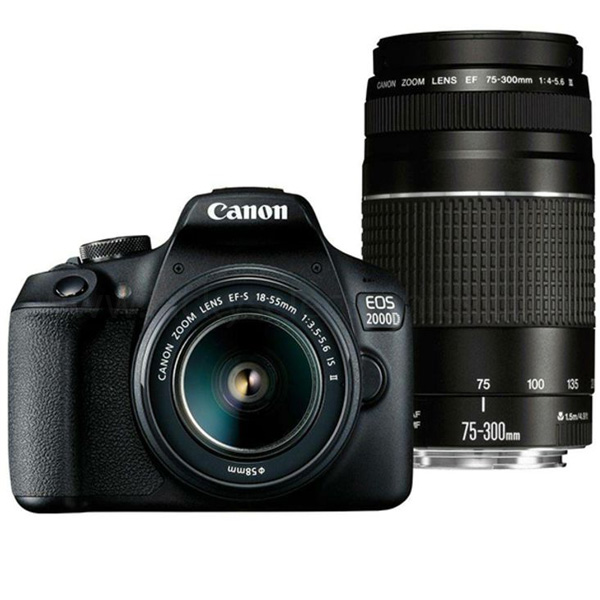 Canon EOS2000D DSLR Camera with Double Lens, 18-55mm IS + 75-300mm (EOS2000DKITB)