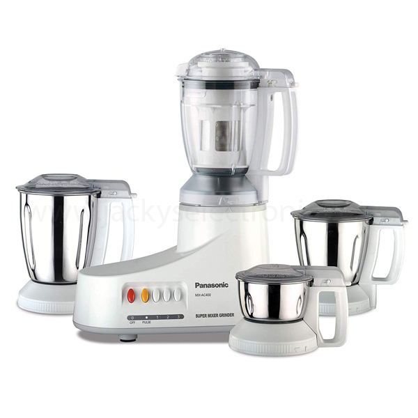 Panasonic 550W Mixer Grinder, Heavy Duty Motor; 4Jars; Juice Filter, , Flow breaker jars, Samurai Edge blades, Made in India (MX-AC400)