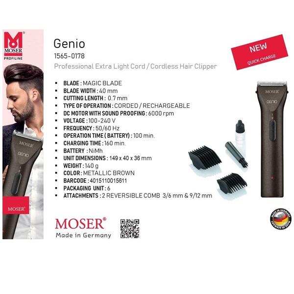 Moser Professional Cord/Cordless Trimmer, LI+PRO MINI, 3PIN (1588-0150)