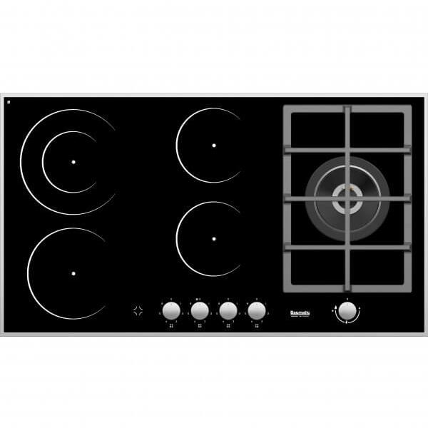Baumatic 4 Ceramic Electric Zone, 1 Gas Burner Dual Fuel Hob Wok 5.5kW BMEH94E1G Grey/Black