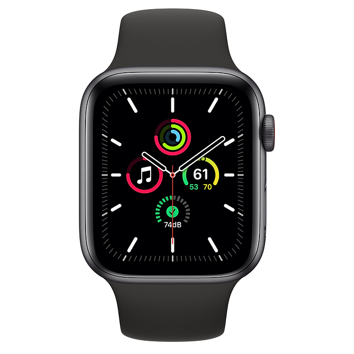 Apple Watch SE GPS + Cellular, 44mm Space Gray Aluminium Case with Black Sport Band - Regular MYF02AE/A