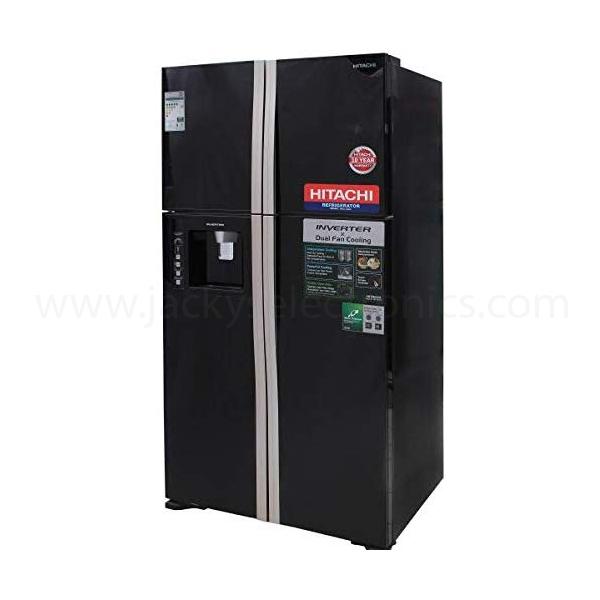 Hitachi 720ltr French 4-Door Refrigerator, Glass Black (RW720PUK1GBK)