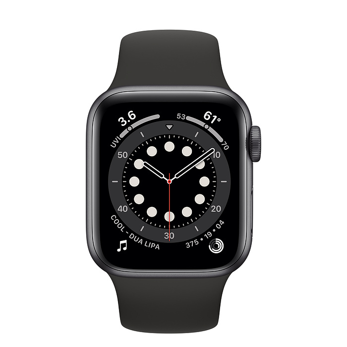 Apple Watch Series 6 GPS, 44mm Space Gray Aluminium Case with Black Sport Band - Regular M00H3AE/A
