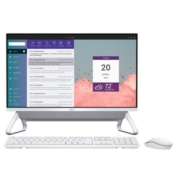 "Dell AIO-5490-i7-10510U, RAM 16GB, Memory 256G SSD+1TB HDD, Graphic Card 2 GB Nvidia MX110, 23.8"" FHD/W/L KB+Mouse, Window 10 Home, Silver AIO-DT-5490-2001-SL"