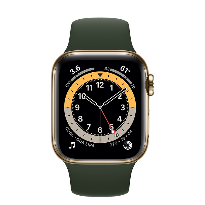 Apple Watch Series 6 GPS + Cellular, 40mm Gold Stainless Steel Case with Cyprus Green Sport Band - Regular M06V3AE/A