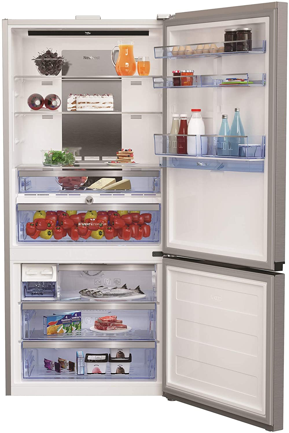 Beko 720 Liter Bottom Freezer Refrıgerator, No Frost, ProSmart Inverter Compressor, Dual Cooling Technology, Made in Turkey RCNE720E20PX